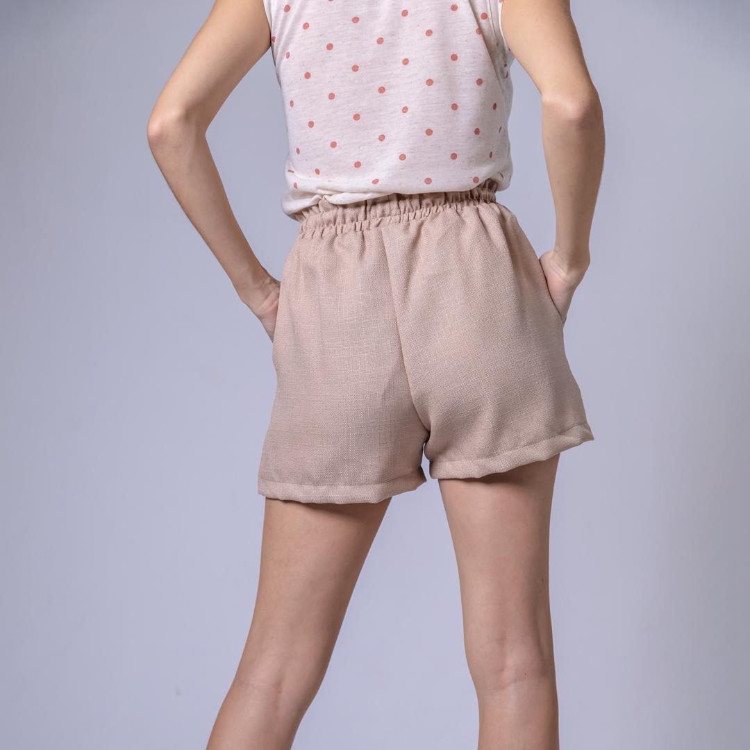 Shorts Bolso Extreno Cambraia Linho - Bege