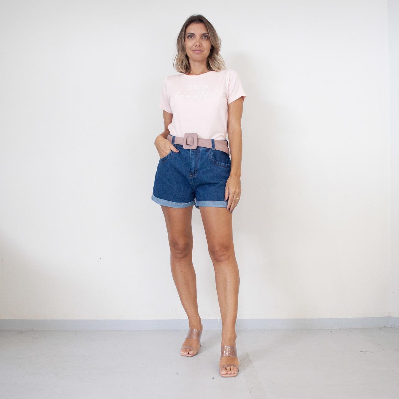 T-Shirt Viscolycra Gola U - Beautiful - Rosa Claro