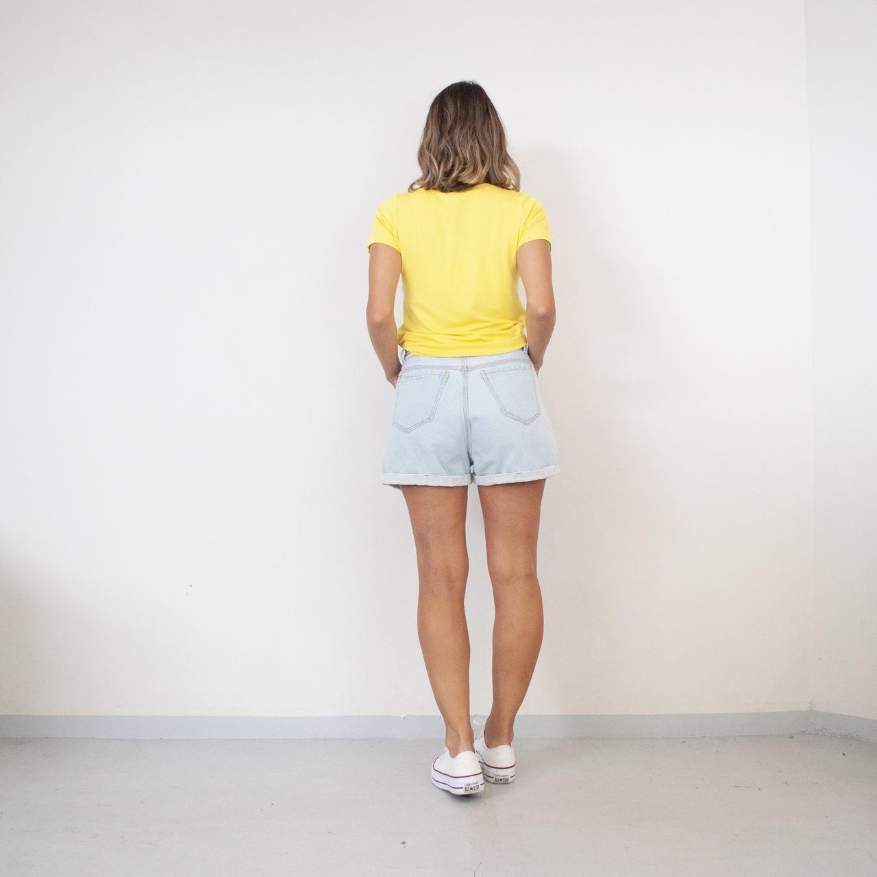 T-Shirt Viscolycra Gola U - Love - Amarelo