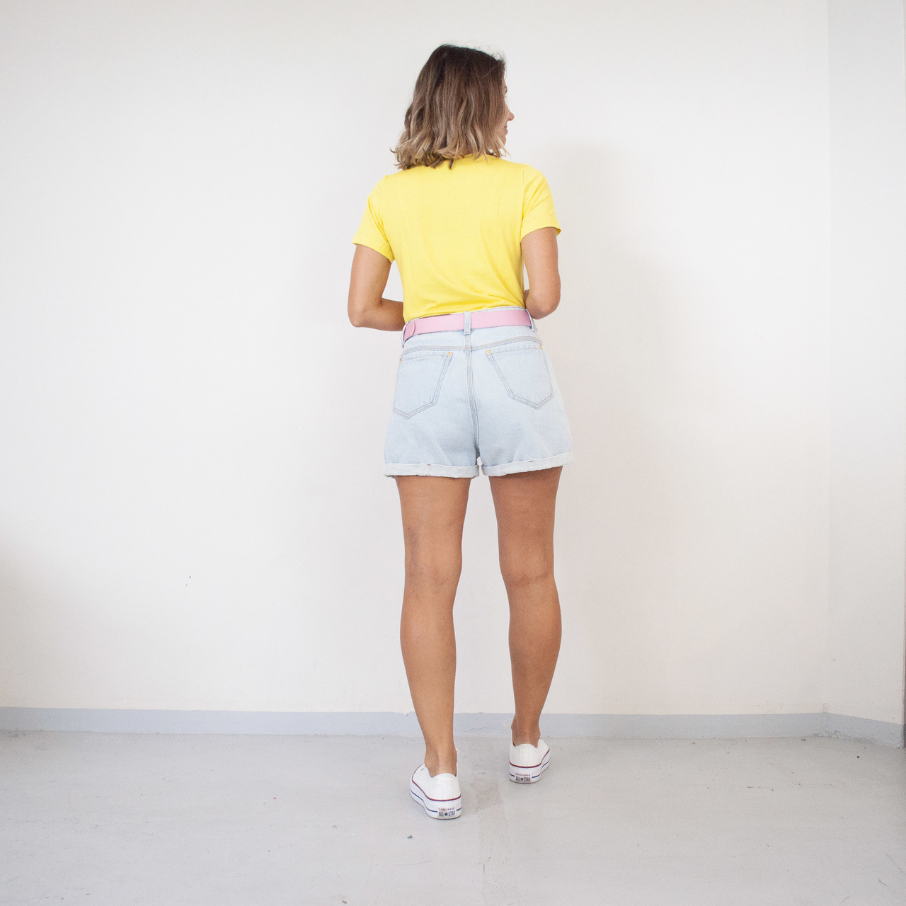 T-Shirt Viscolycra Gola U -  Vibes - Amarelo