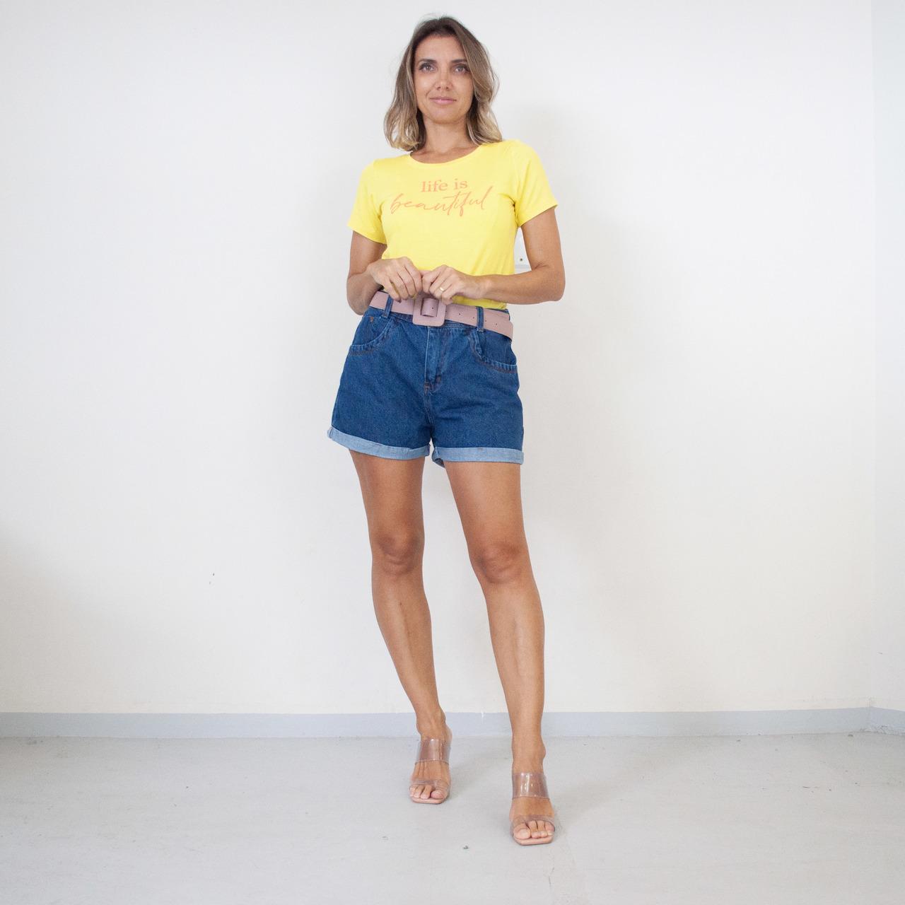 T-Shirt Viscolycra Gola U - Beautiful - Amarela