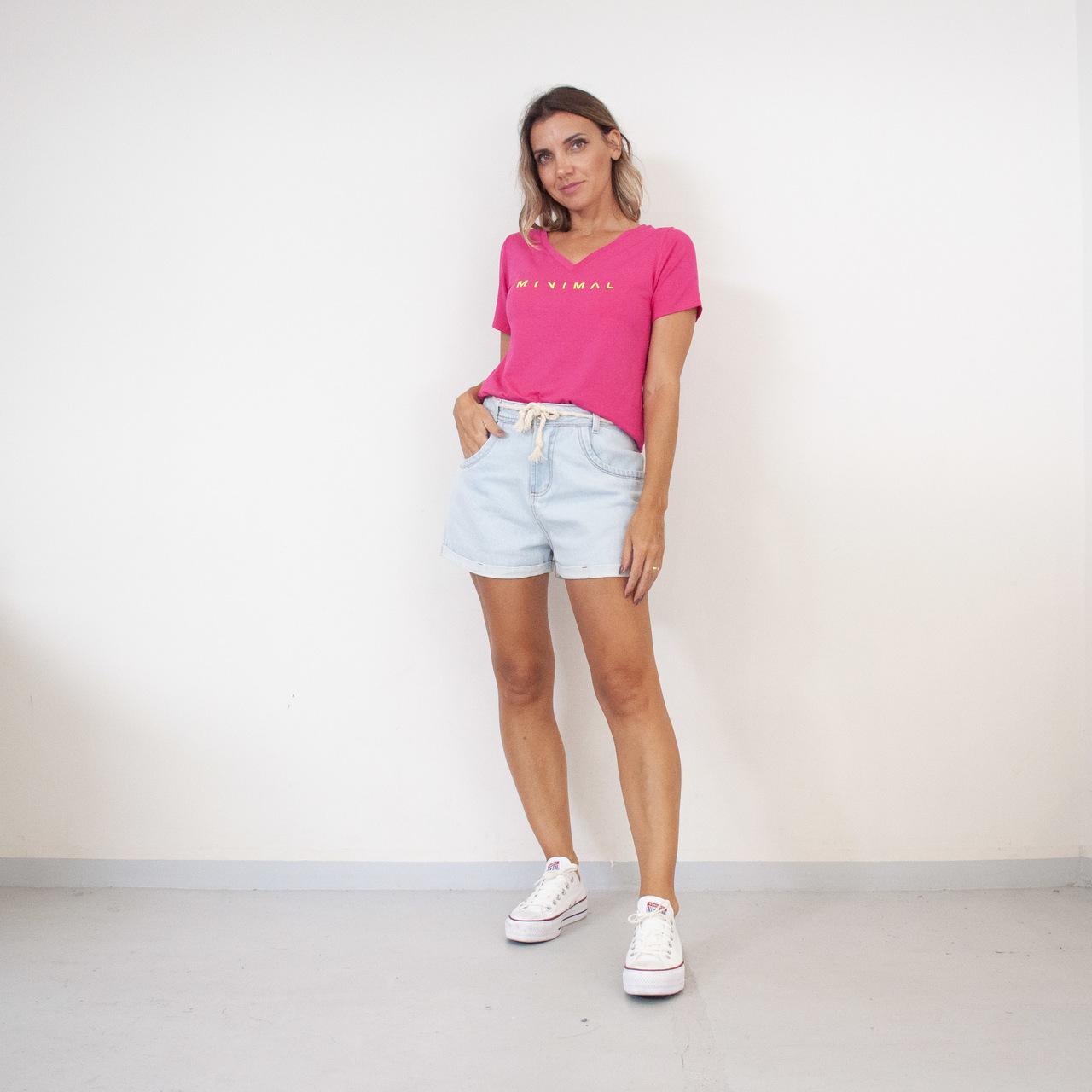 T-Shirt Viscolycra Gola V - Good - Pink