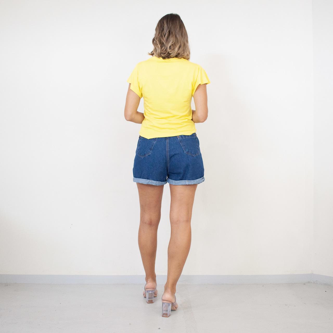 T-Shirt Viscolycra Gola V - Mademoiselle - Amarela