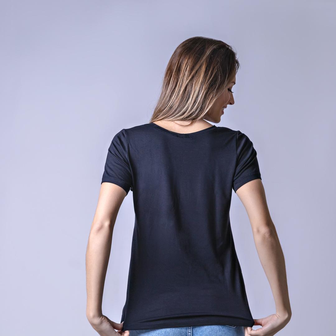T-Shirt Viscolycra Gola U - Love - Preto