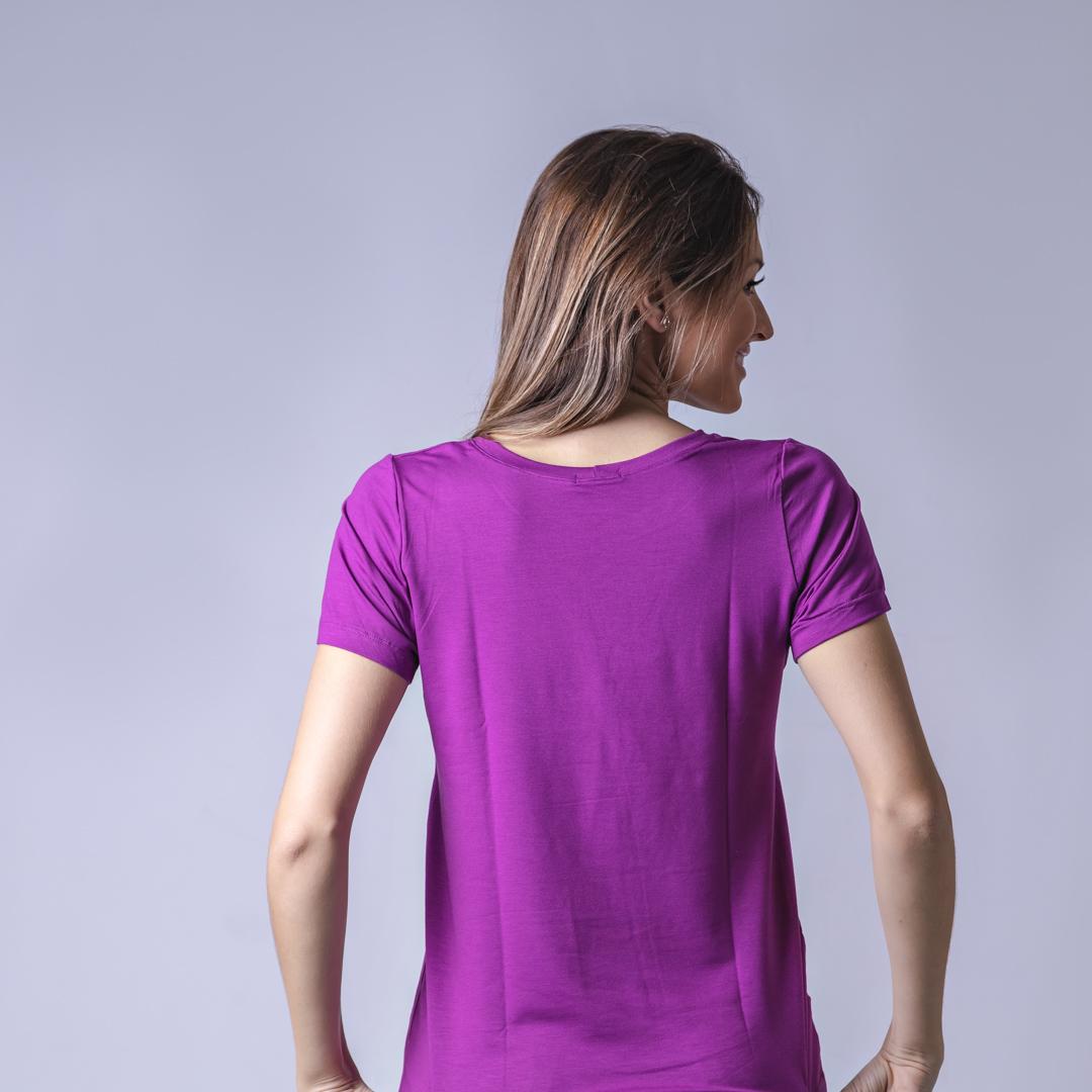 T-Shirt Viscolycra Gola U - Love - Roxo