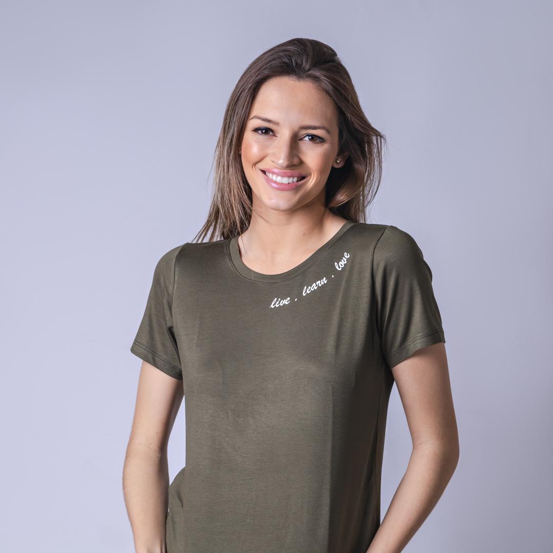 T-Shirt Viscolycra Gola U - Love - Verde Militar