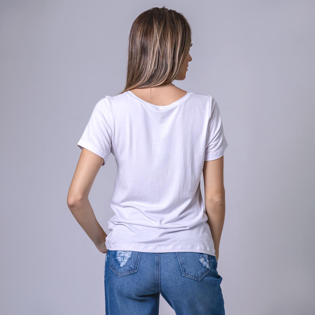 T-Shirt Viscolycra Gola U -  Vibes - Branca