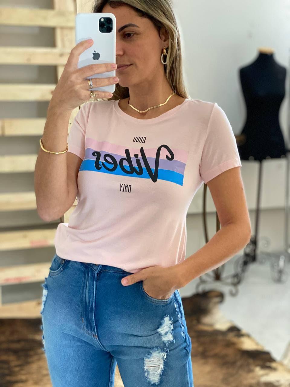T-Shirt Viscolycra Gola U -  Vibes - Rosa Claro