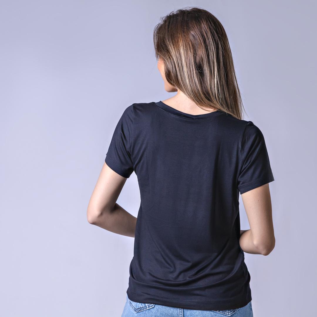 T-Shirt Viscolycra Gola V - Belive - Preto