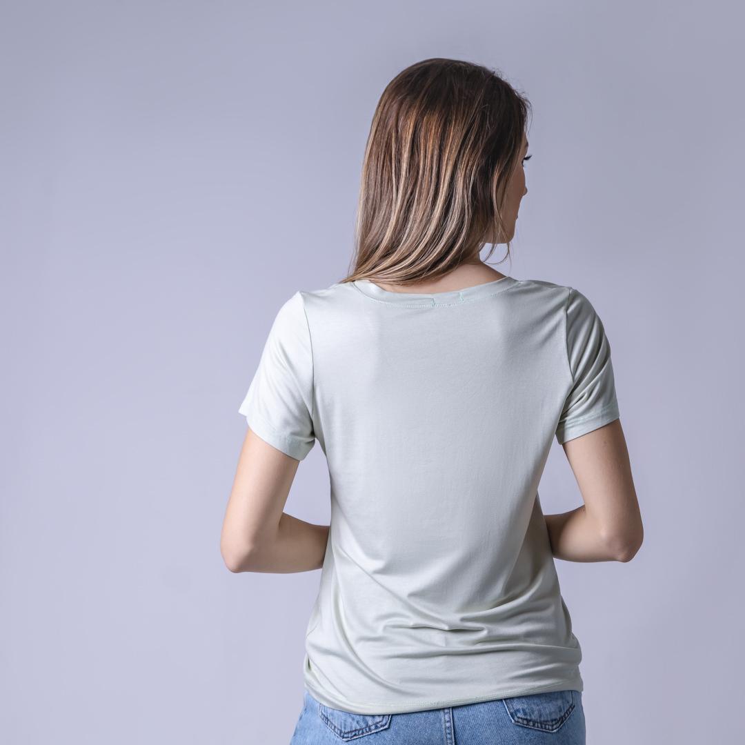 T-Shirt Viscolycra Gola V - Belive - Verde Menta