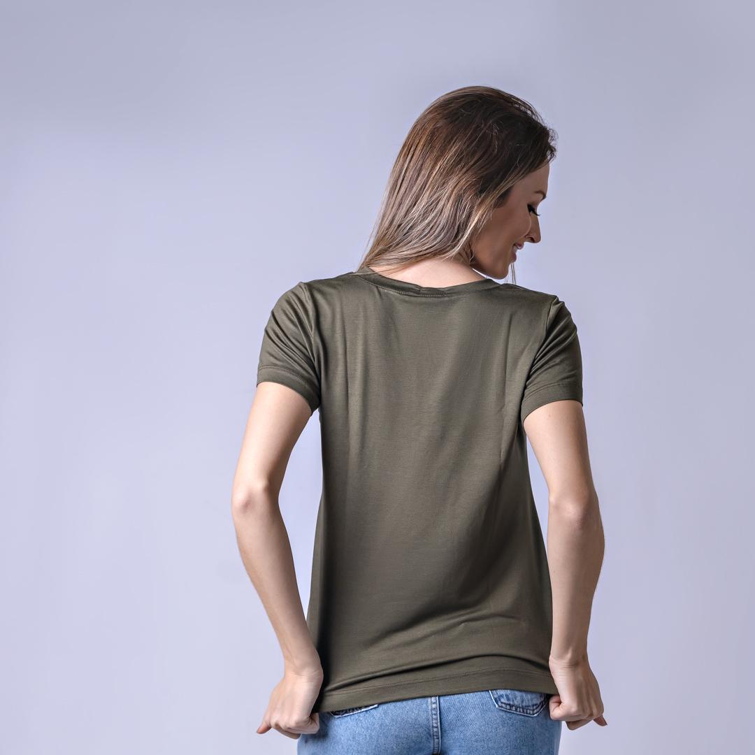 T-Shirt Viscolycra Gola V - Belive - Verde Militar