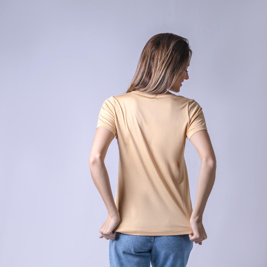 T-Shirt Viscolycra Gola V - Coffe - Bege