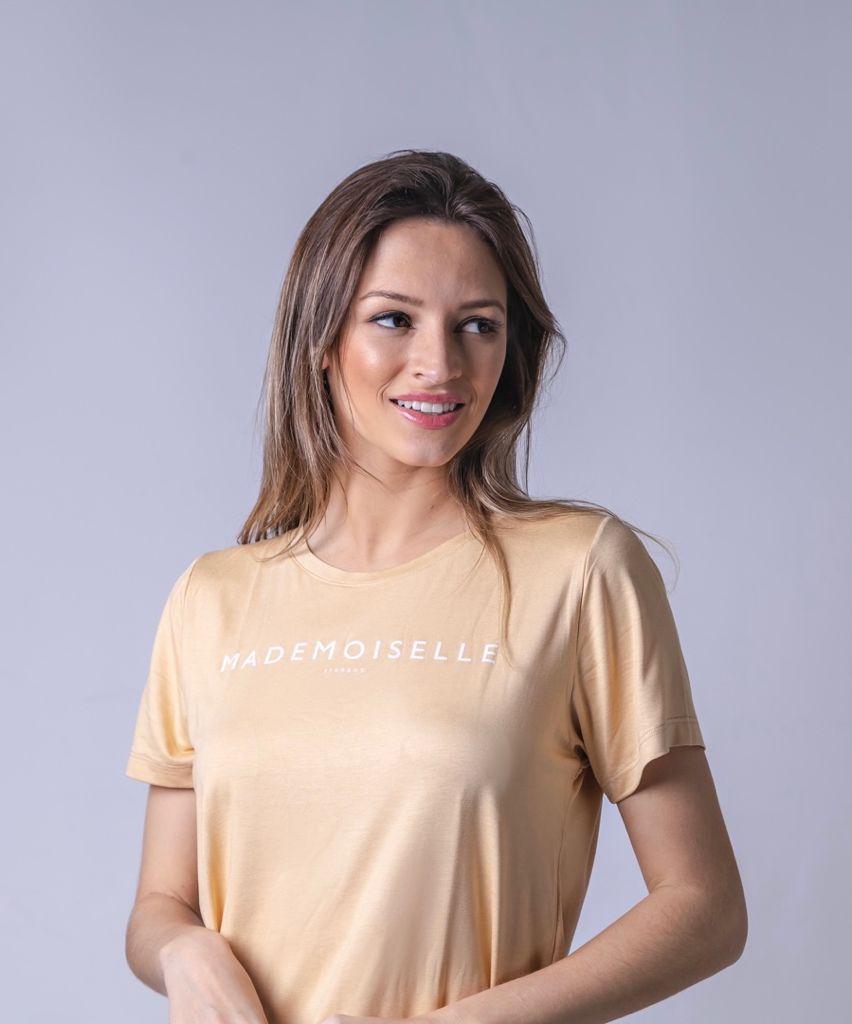T-Shirt Viscolycra Gola V - Mademoiselle - Bege