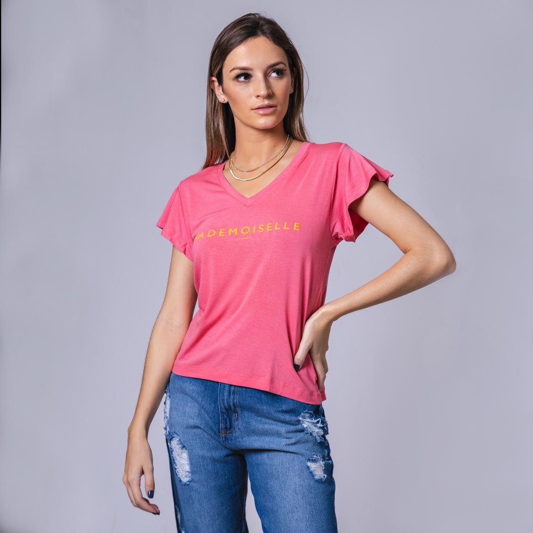 T-Shirt Viscolycra Gola V - Mademoiselle - Rosê