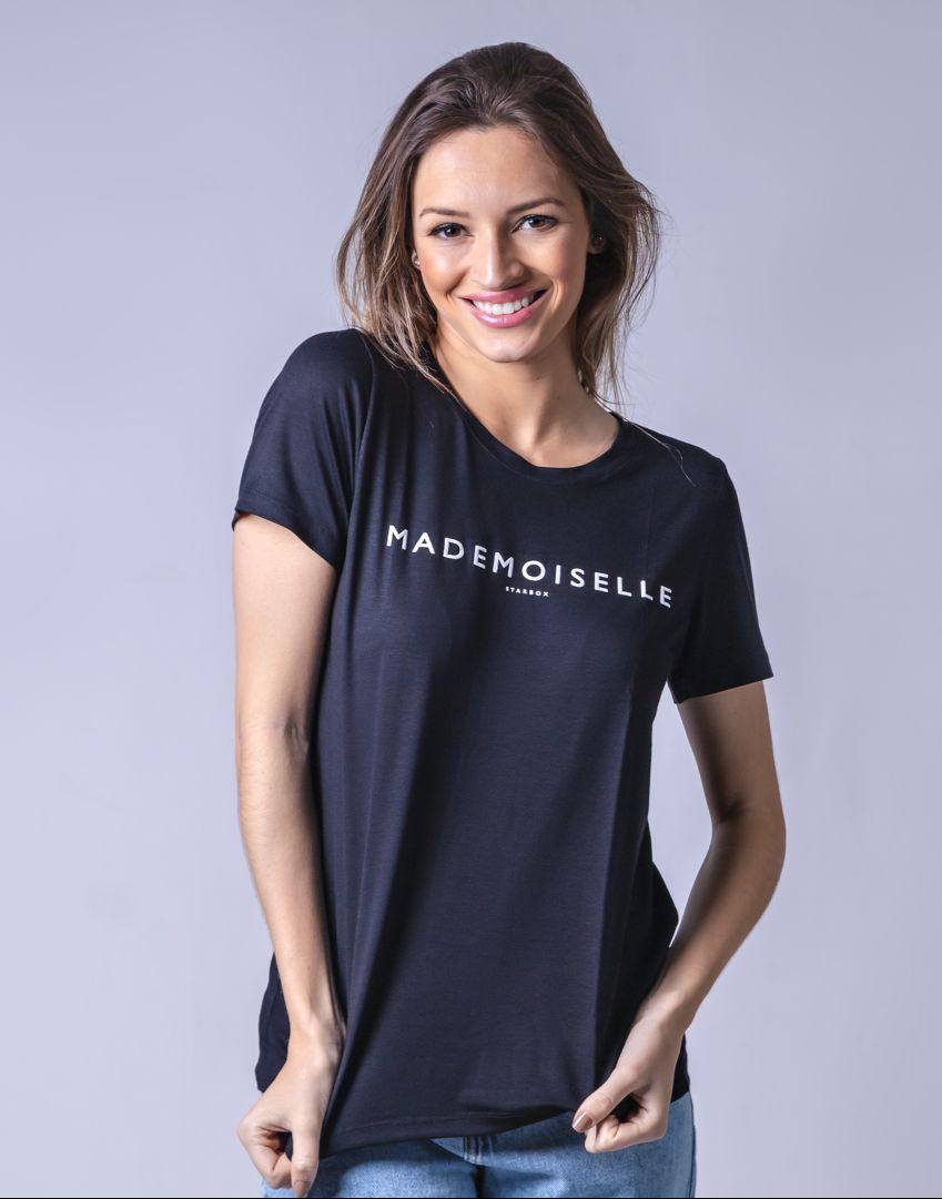 T-Shirt Viscolycra Gola V - Mademoiselle - Preta