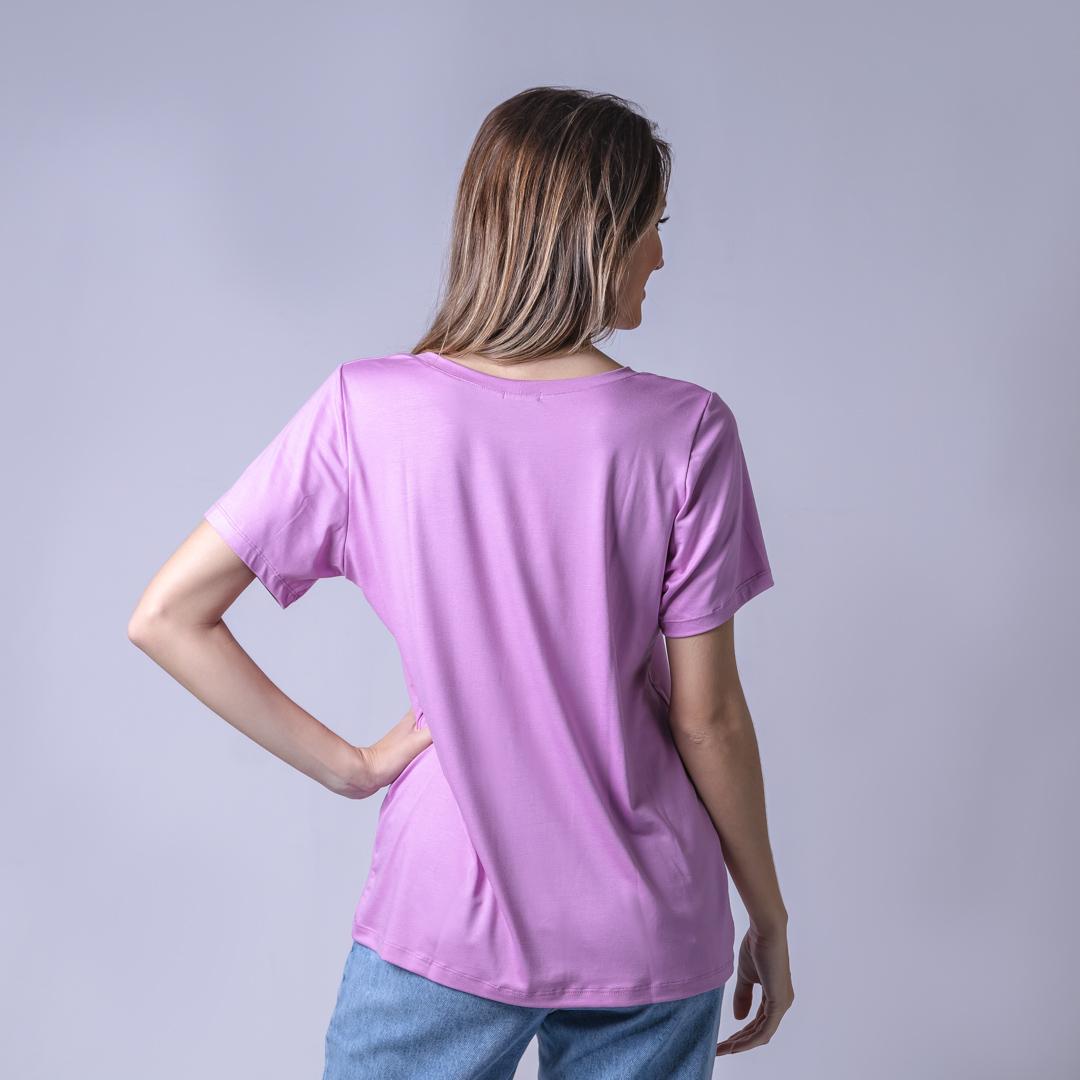 T-Shirt Viscolycra Gola V - Mademoiselle - Rosa