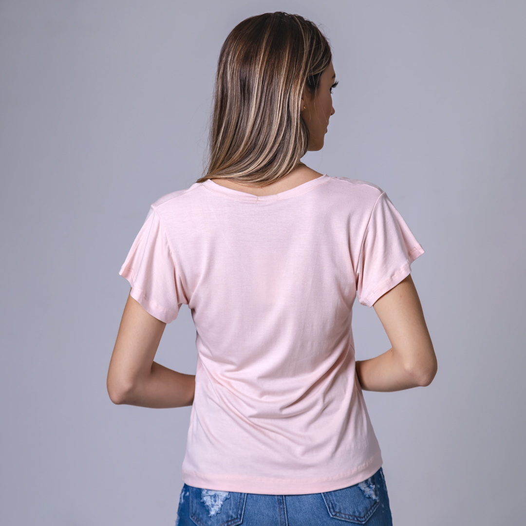 T-Shirt Viscolycra Gola V - Mademoiselle - Rosa Claro