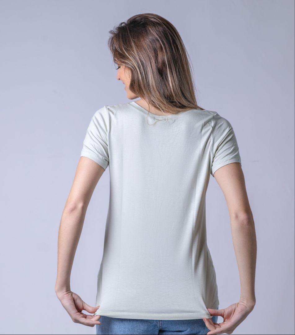 T-Shirt Viscolycra Gola V - Mademoiselle - Verde Menta