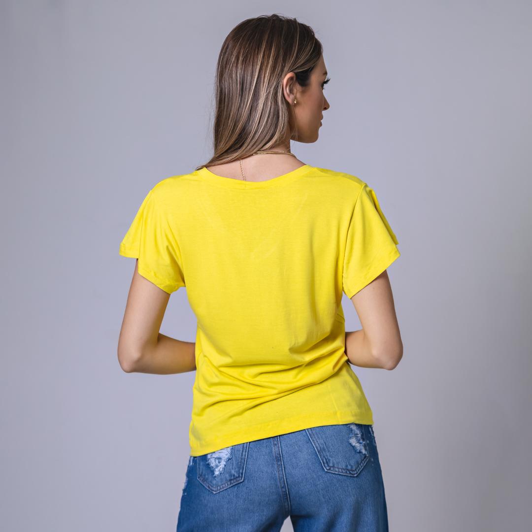 T-Shirt Viscolycra Gola V - Make Positiv - Amarela