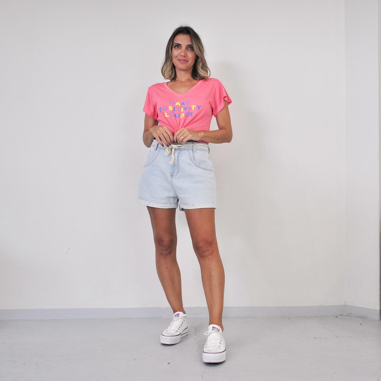 T-Shirt Viscolycra Gola V - Make Positiv - Rosê