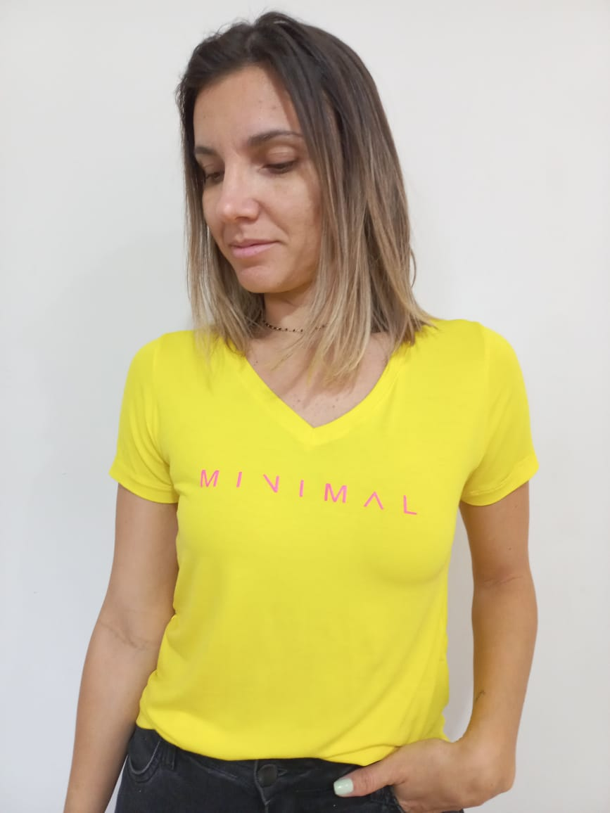 T-Shirt Viscolycra Gola V - Minimal - Amarela