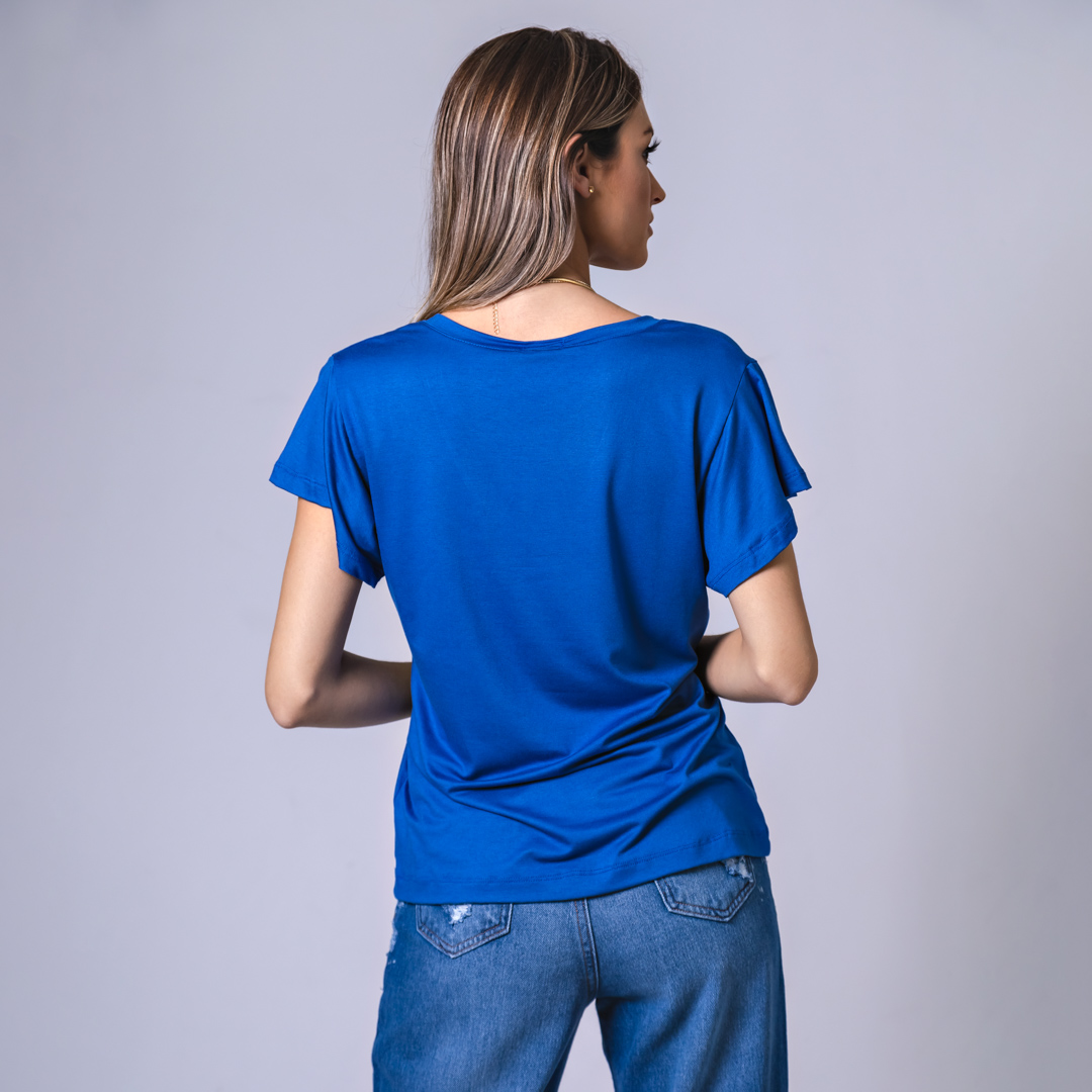 T-Shirt Viscolycra Gola V - Minimal - Azul