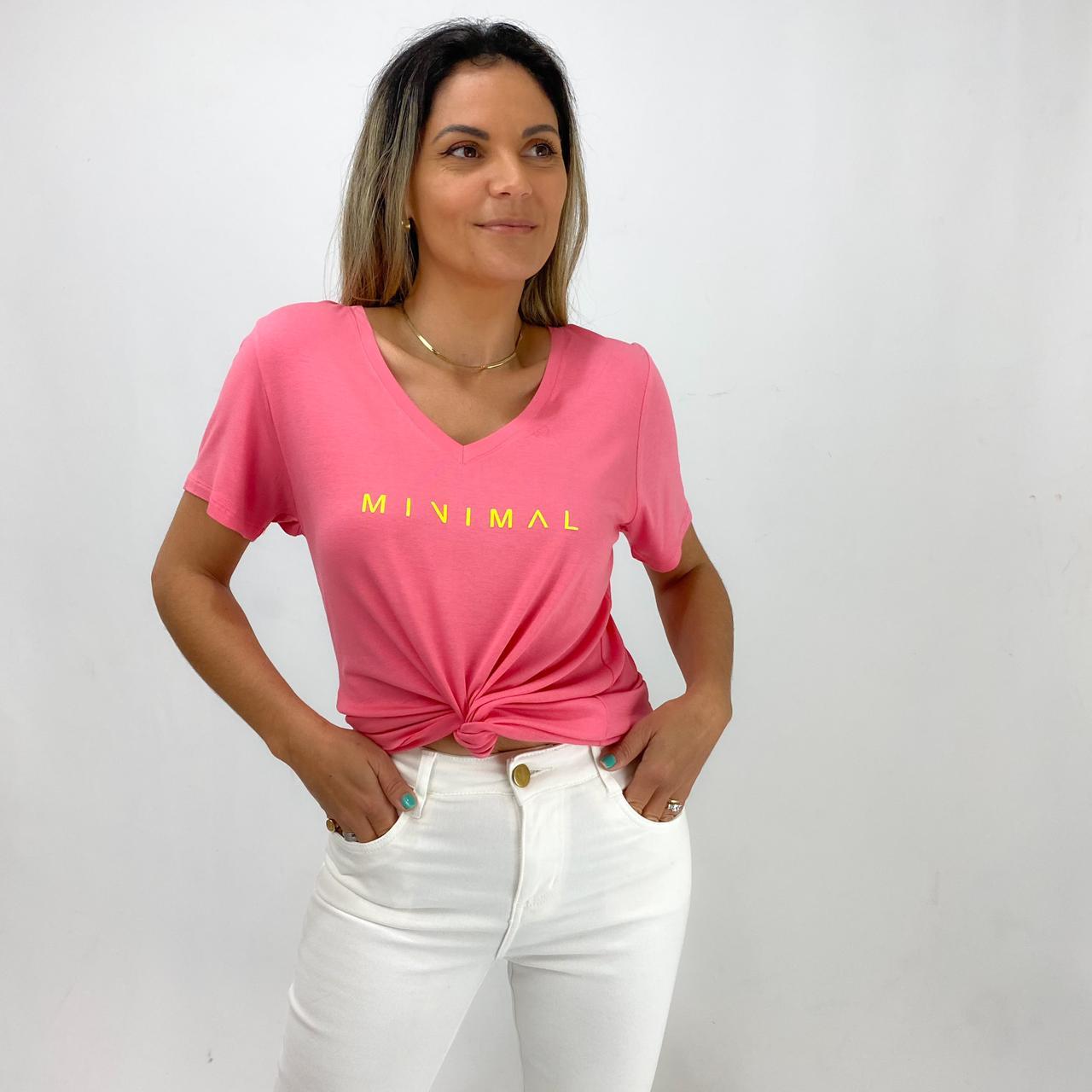 T-Shirt Viscolycra Gola V - Minimal - Rosê