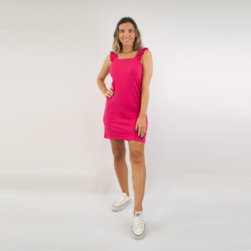 Vestido Canelado FruFru - Goiaba
