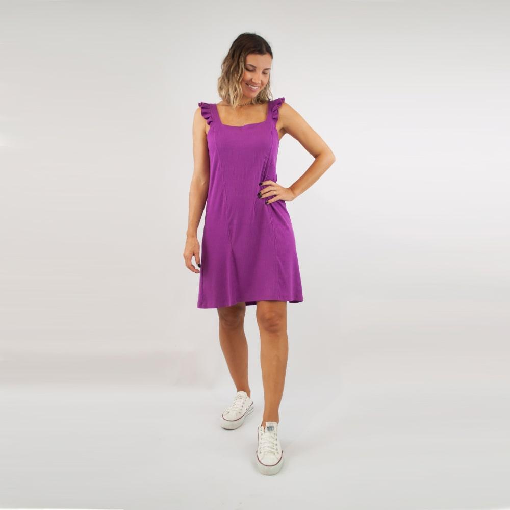 Vestido Canelado FruFru - Roxo