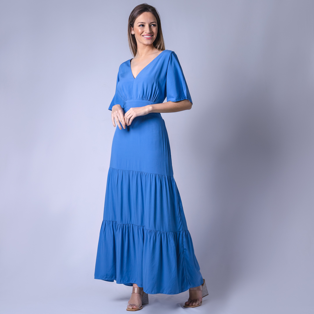 Vestido Longo Tecido Viscose - Azul