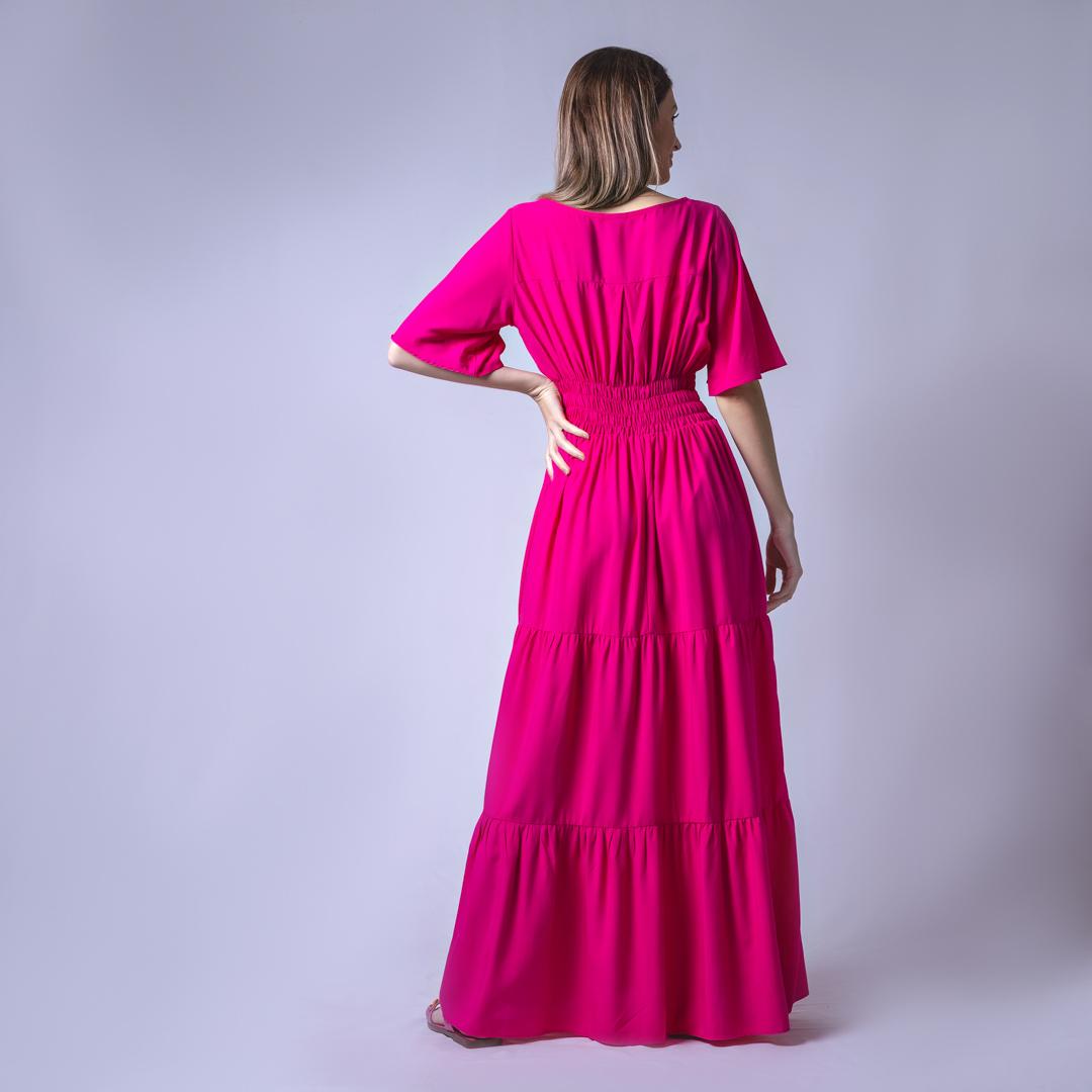 Vestido Longo Tecido Viscose - Rosa