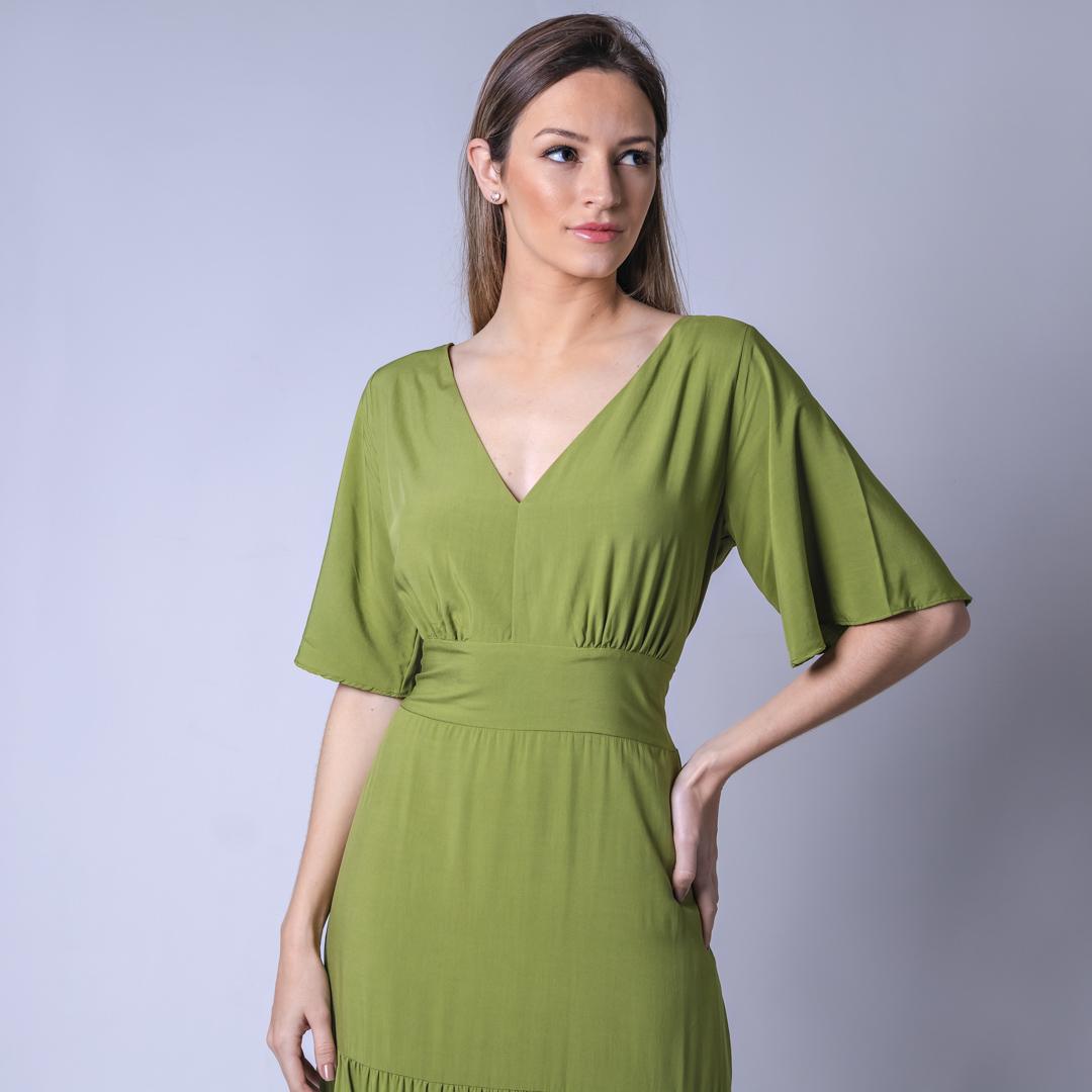 Vestido Longo Tecido Viscose - Verde
