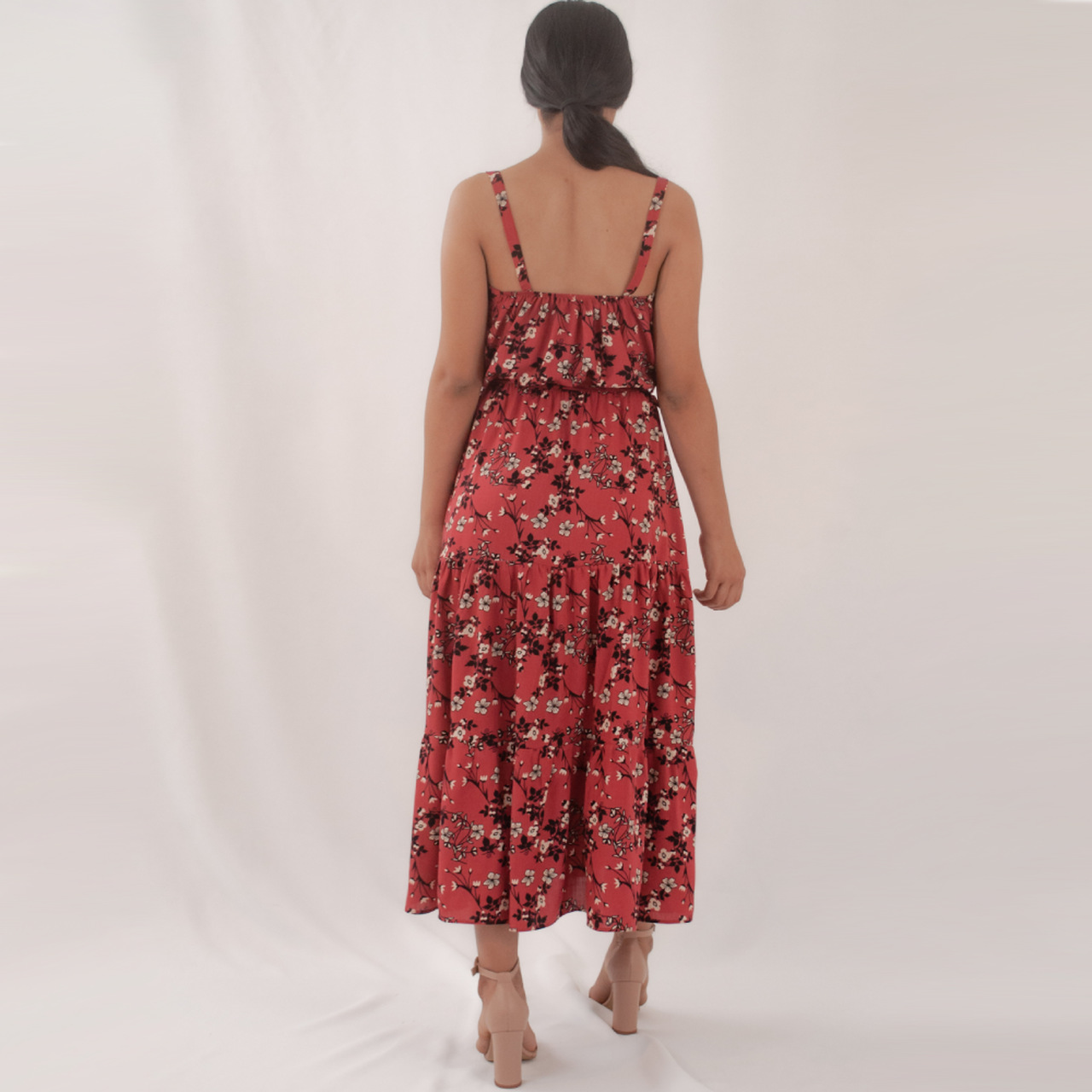 Vestido Mídi Babados - Vermelho