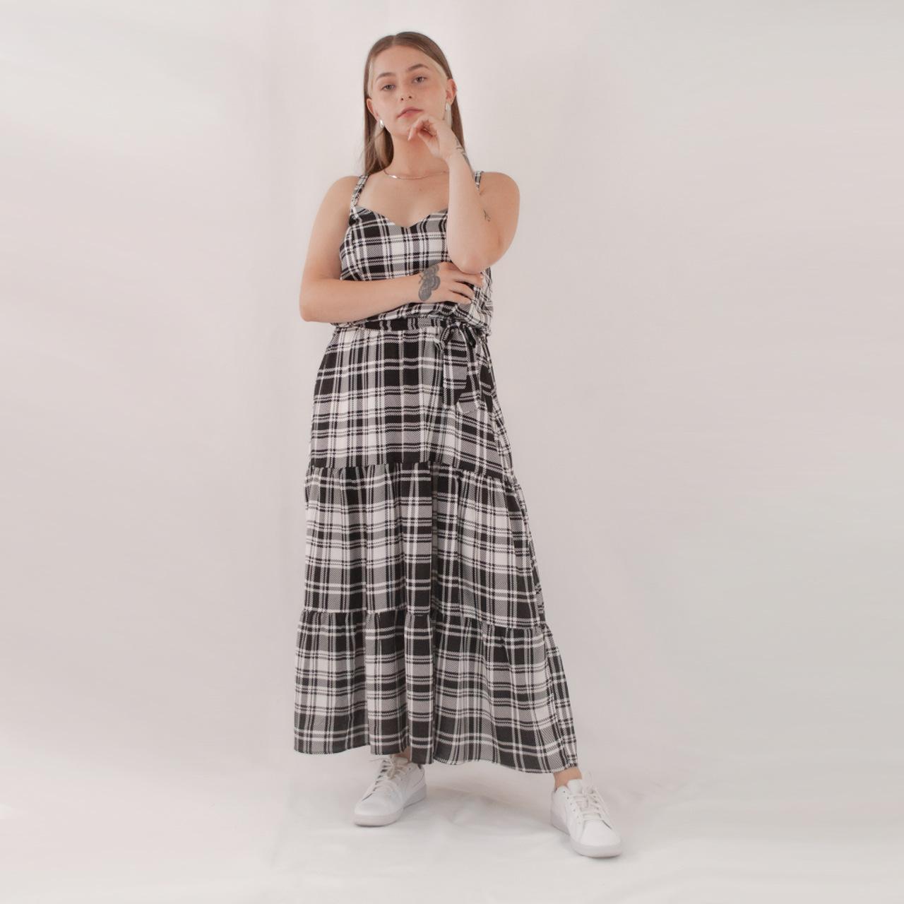 Vestido Mídi Babados - Xadrez