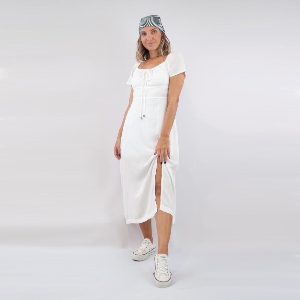 Vestido Sally - Branco Trabalhado