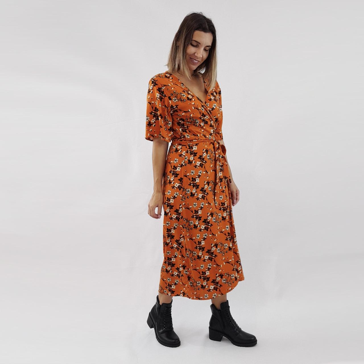 Vestido Transpassado Juli - Laranja