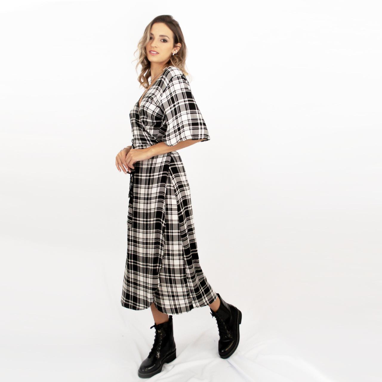 Vestido Transpassado Juli - Xadrez