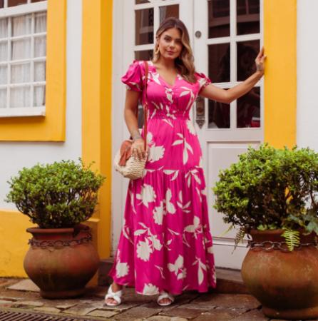 Vestido Viscolinho Floral - Rosa