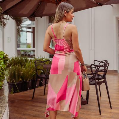 Vestido Viscolycra Laço Folha - Rosa