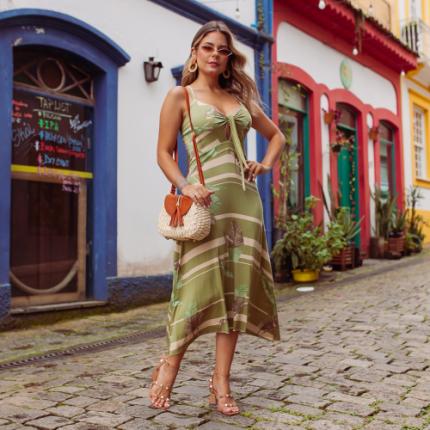 Vestido Viscolycra Laço Folha - Verde