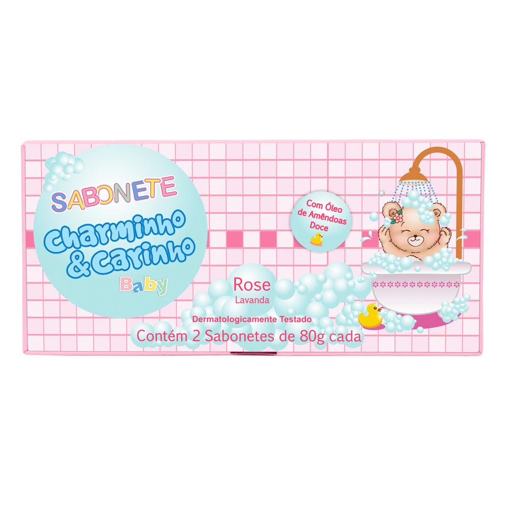Sabonete Infantil Rose Lavanda e Almiscar Charminho & Carinho Baby - Estojo com 2 unidades
