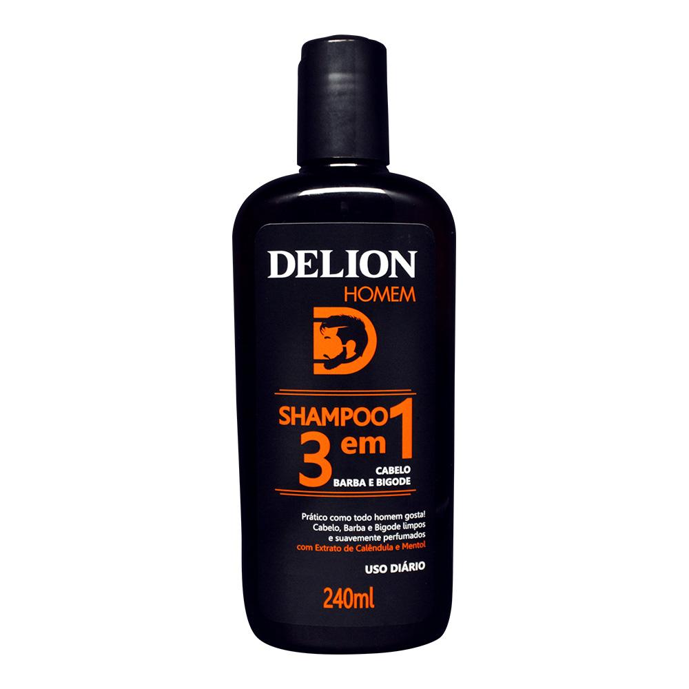 Shampoo 3 em 1 Cabelo, Barba e Bigode Delion Homem 240ml