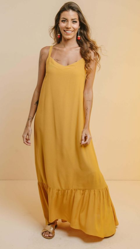 Vestido Crepe c/Babado