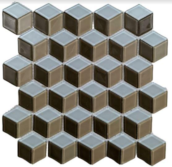 Pastilha de Vidro Cube Brown 30Cm x 30Cm Ct113 a