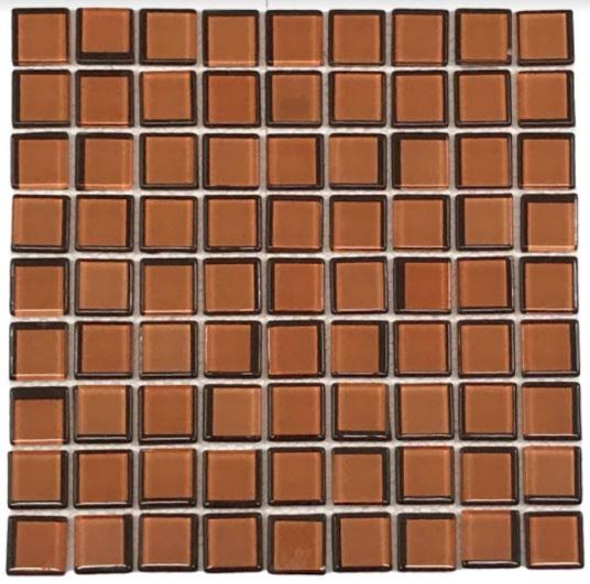Pastilha de Vidro Laranja/Marron 30Cm x 30Cm Segunda Linha Lr106