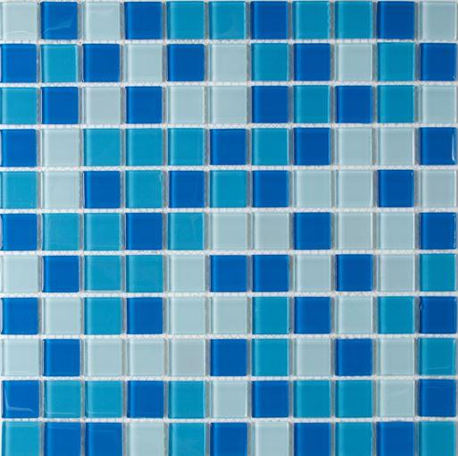 Pastilha de Vidro Mescla Azul Claro 30x30Cm