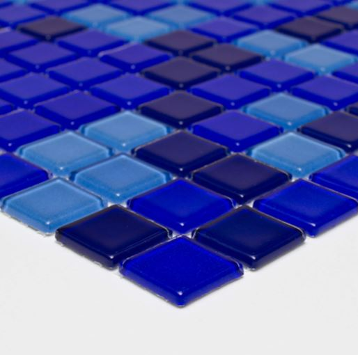 Pastilha de Vidro Mescla Safira 30Cm x 30Cm Maz111 b