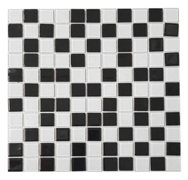 Pastilha de Vidro Real Mescla 30x30Cm - Preto Branco
