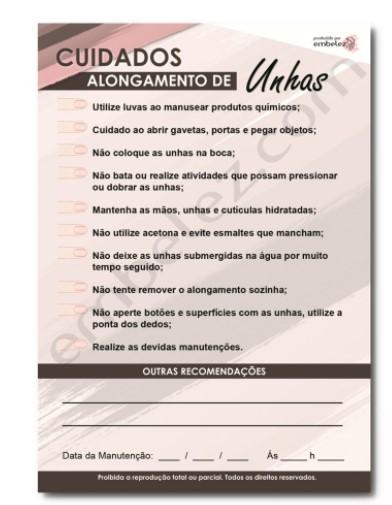 Bloco Cuidados Cliente para Unhas - 100 Folhas  - Gelda Cabral