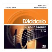 Encordoamento D'addario EJ10 10-47 Bronze Extra Light Violão